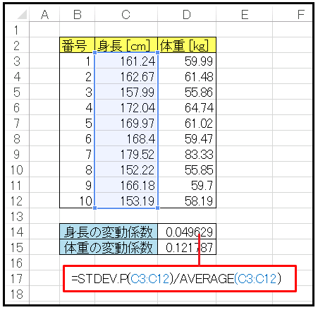 Excelで変動係数 coefficient of variation を計算
