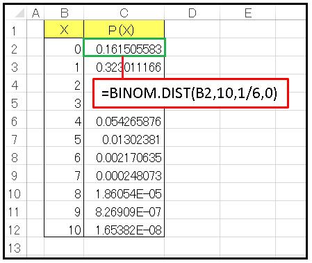 2項分布のサイコロデータをワークシートに作成