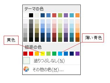 Excel 塗り潰しの色(黄色と薄い青色)