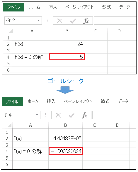 Excel ゴールシーク 負数の解