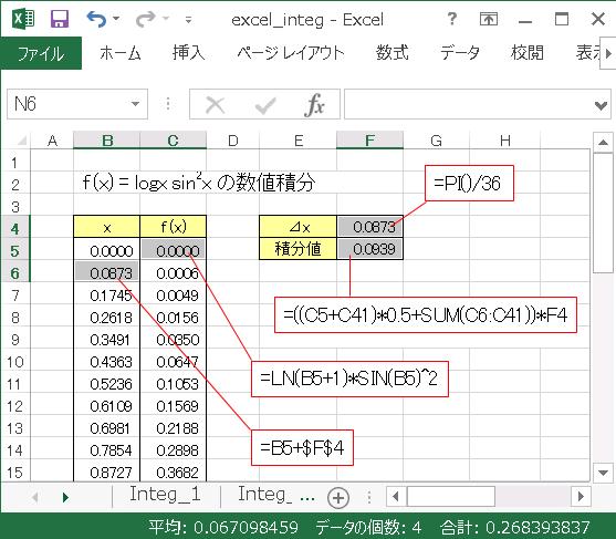 Excel 積分サンプルシート