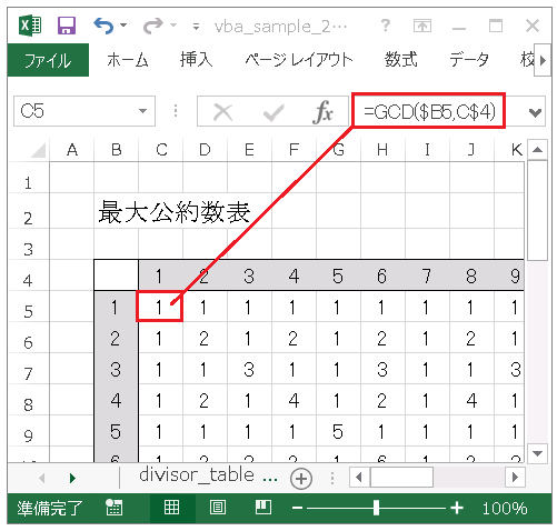 Excel GCD関数による最大公約数表の作成方法の解説図